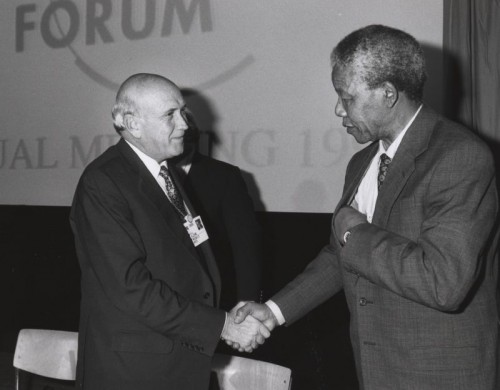 Frederik de Klerk with Nelson Mandela - World Economic Forum 1992