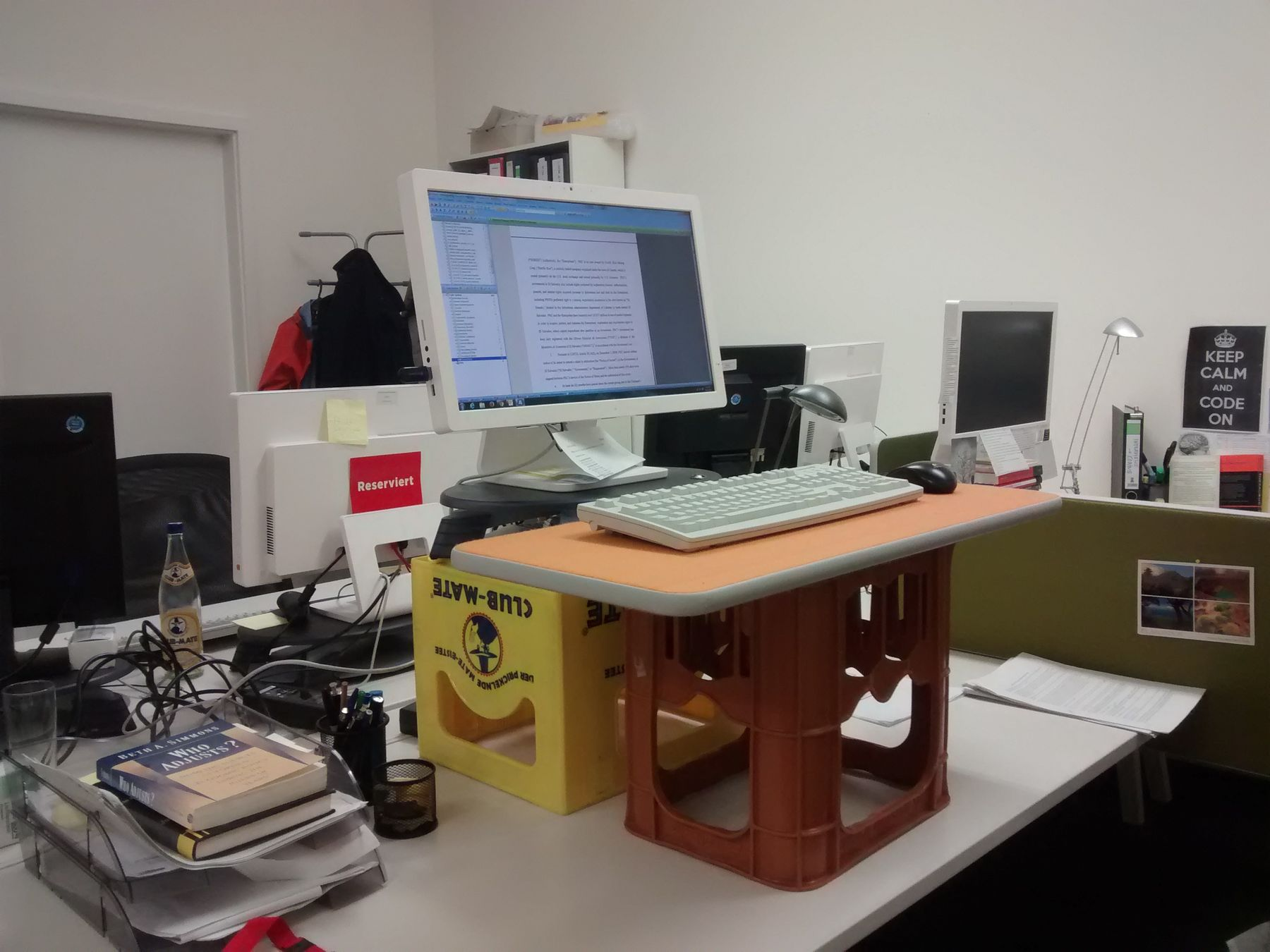 The Diy Standing Desk In Action All You Need Addition To Regular Is Two Crates And A Surface For Mouse Keyboard